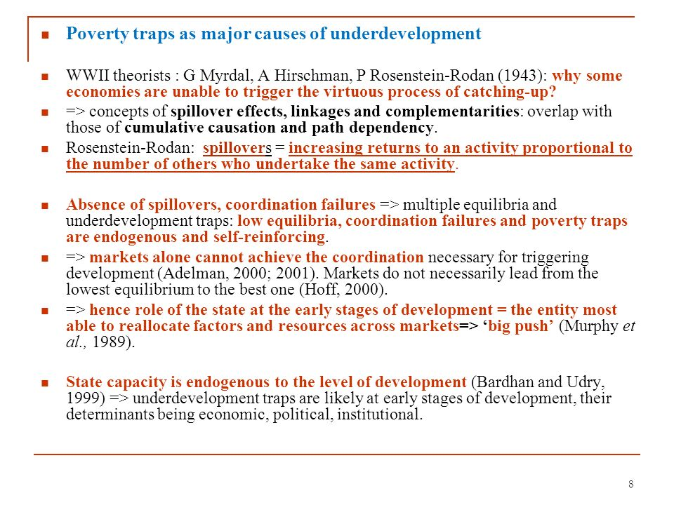 Poverty traps as major causes of underdevelopment
