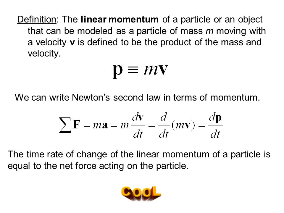 define momentum in terms of mass and velocity relationship