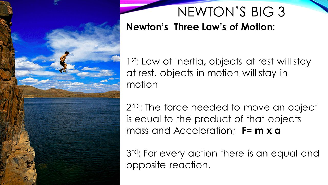 Newton's Big 3 Newton's Three Law's of Motion: