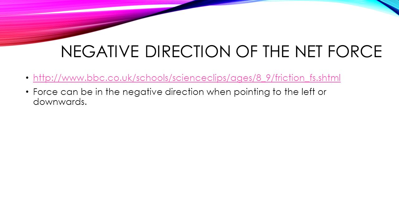 Negative direction of the net force