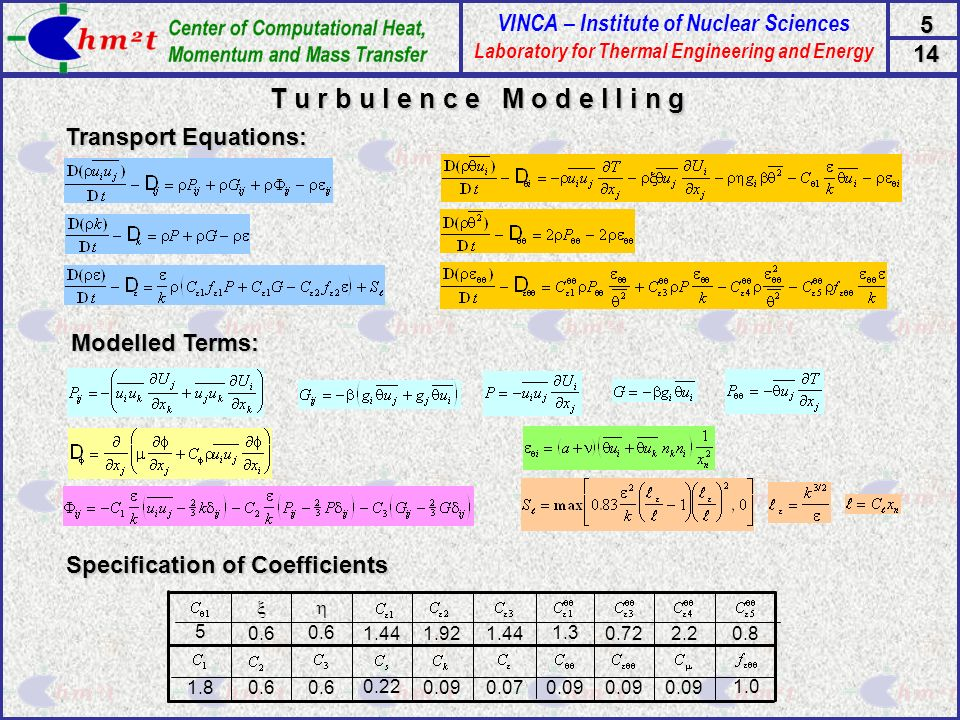 T u r b u l e n c e M o d e l l i n g Transport Equations:
