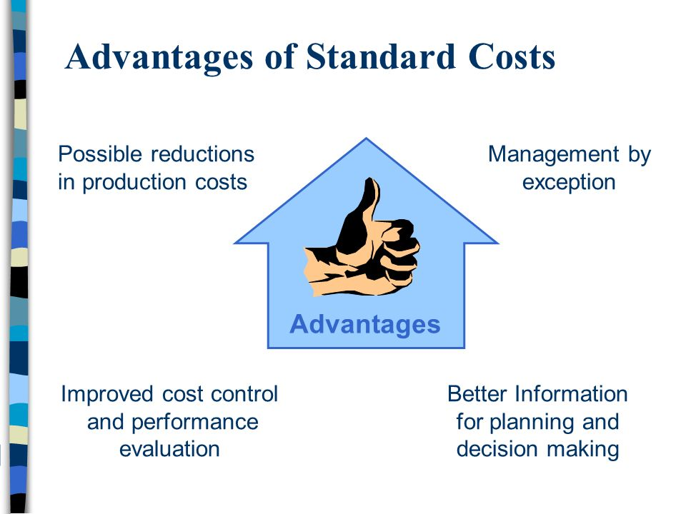 standard costs Historically, production controls have come from standard costing systems let's  take a quick look at how those systems developed and how.
