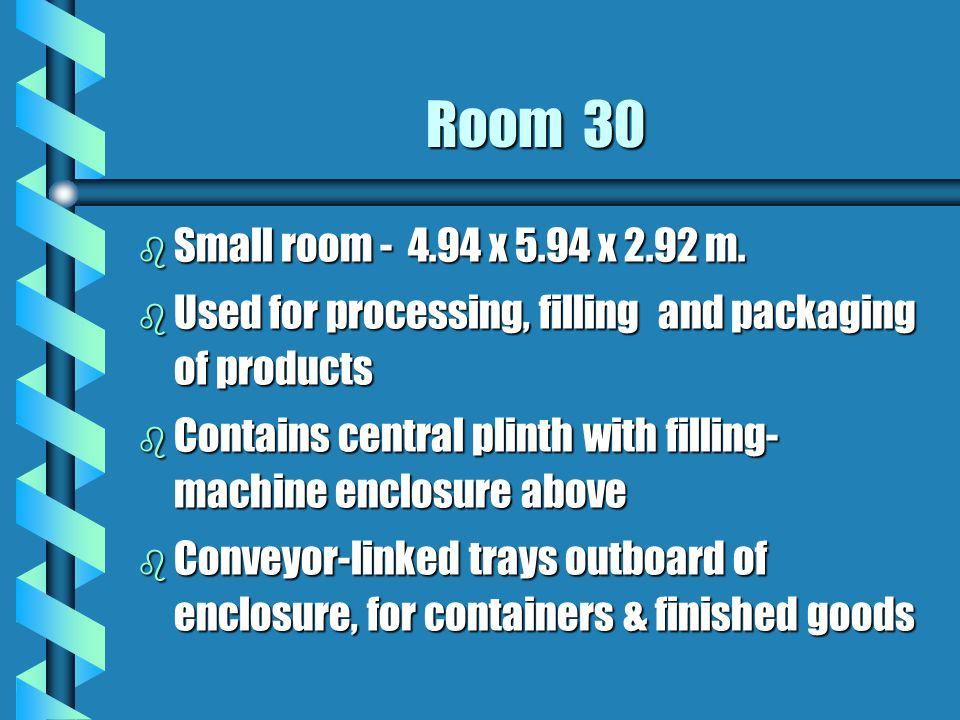 Room 30 Small room - 4.94 x 5.94 x 2.92 m. Used for processing, filling and packaging of products.