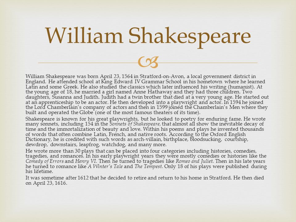 William Shakespeare Love and Romance - Essay