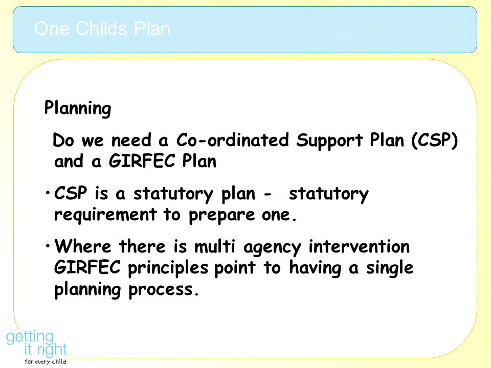 One Childs Plan Planning