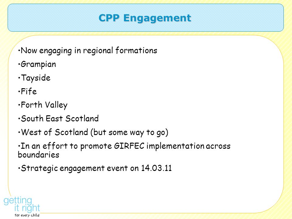 CPP Engagement Now engaging in regional formations Grampian Tayside