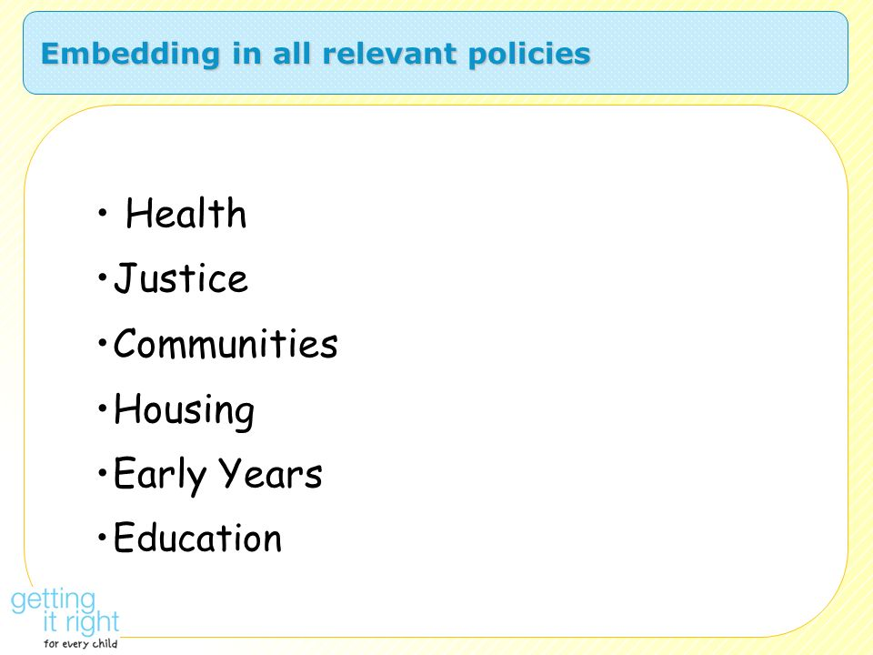Embedding in all relevant policies