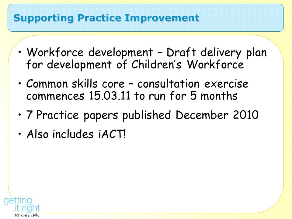 Supporting Practice Improvement