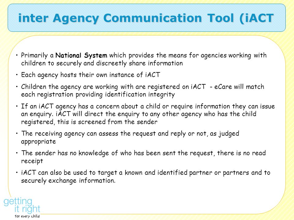 inter Agency Communication Tool (iACT