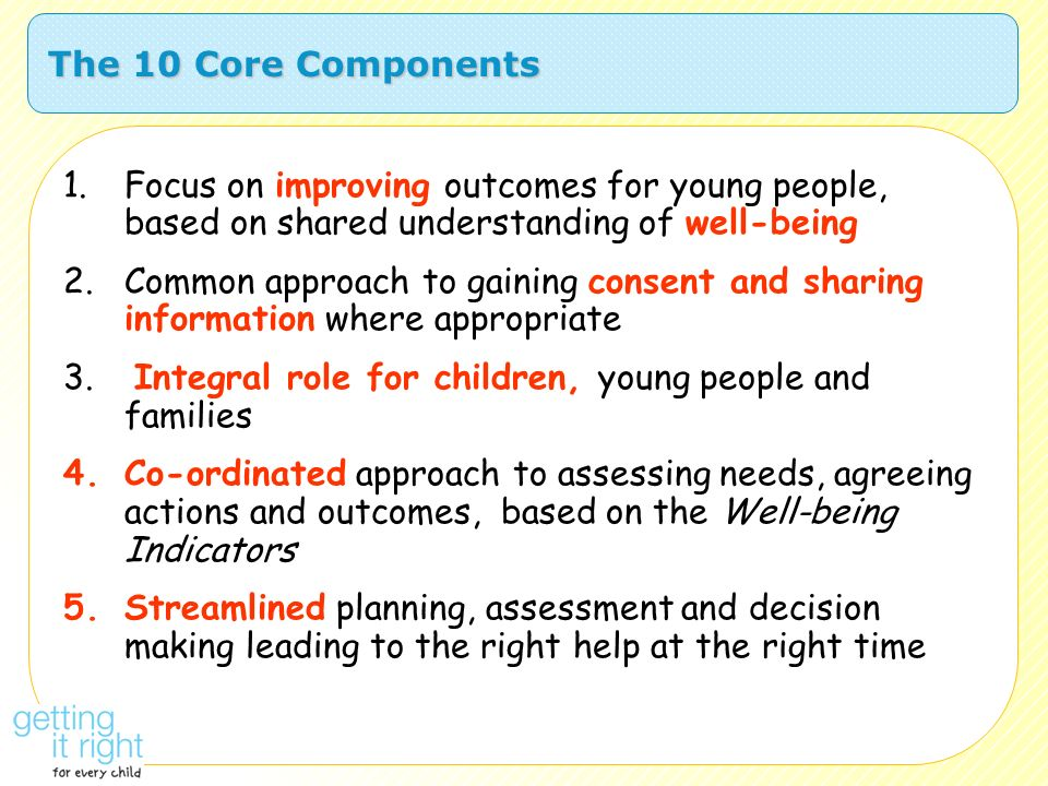 The 10 Core Components Focus on improving outcomes for young people, based on shared understanding of well-being.