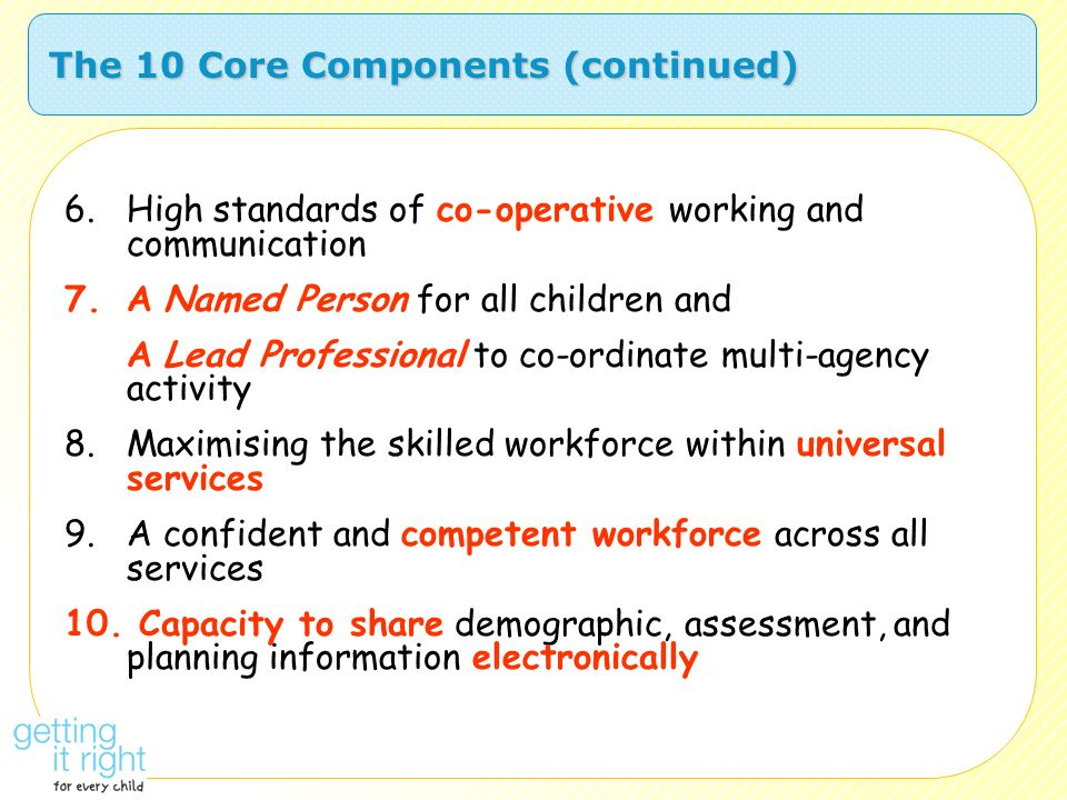 The 10 Core Components (continued)