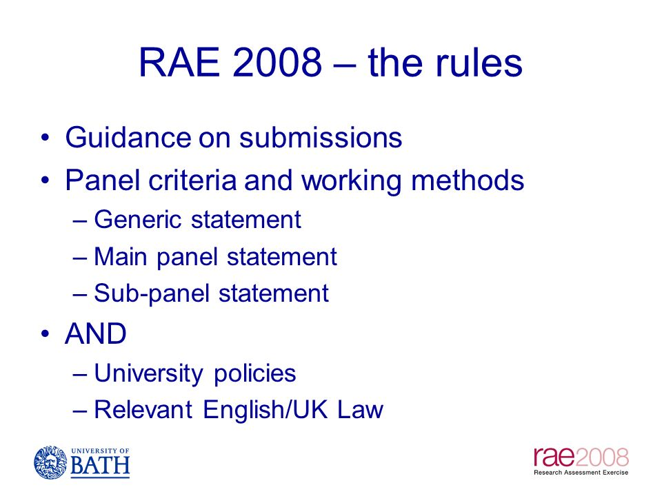 RAE 2008 – the rules Guidance on submissions