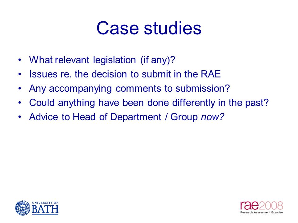 Case studies What relevant legislation (if any)