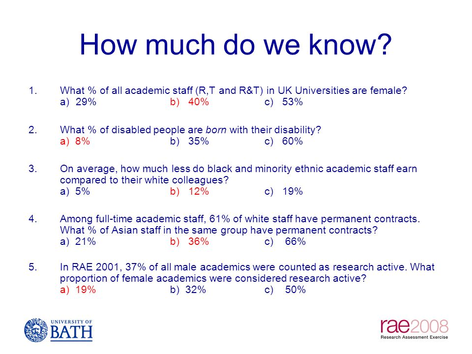 How much do we know What % of all academic staff (R,T and R&T) in UK Universities are female a) 29% b) 40% c) 53%