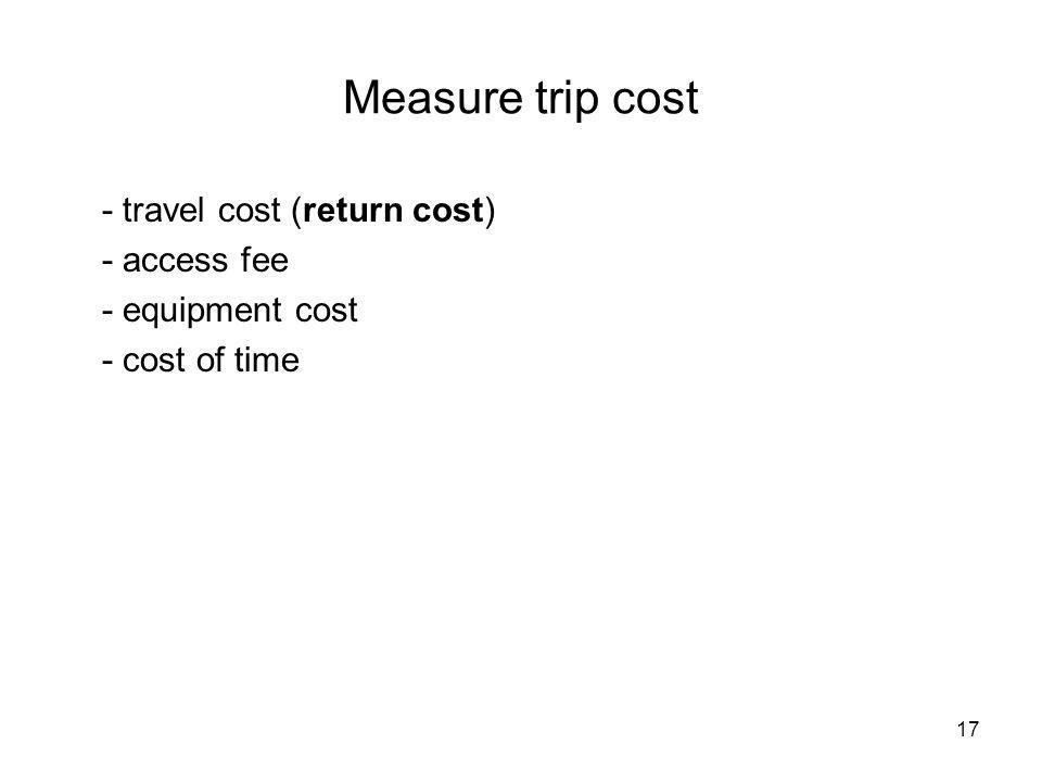 Measure trip cost - travel cost (return cost) - access fee