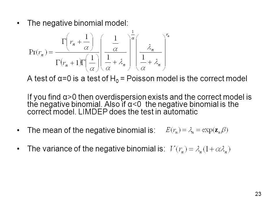 The negative binomial model:
