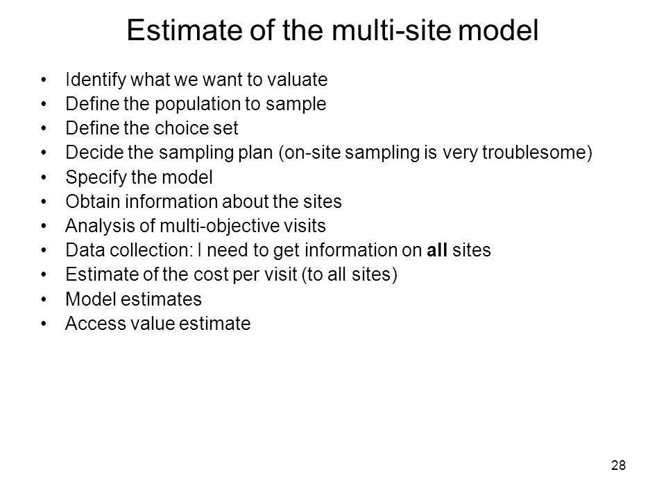 Estimate of the multi-site model