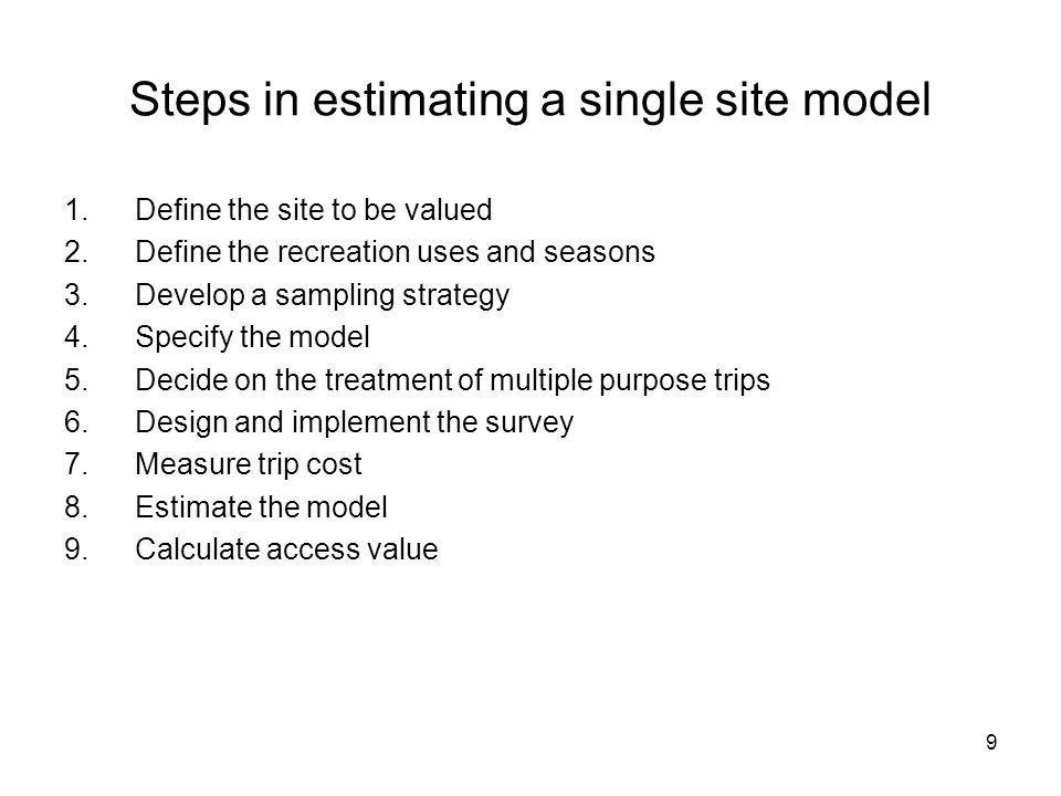 Steps in estimating a single site model
