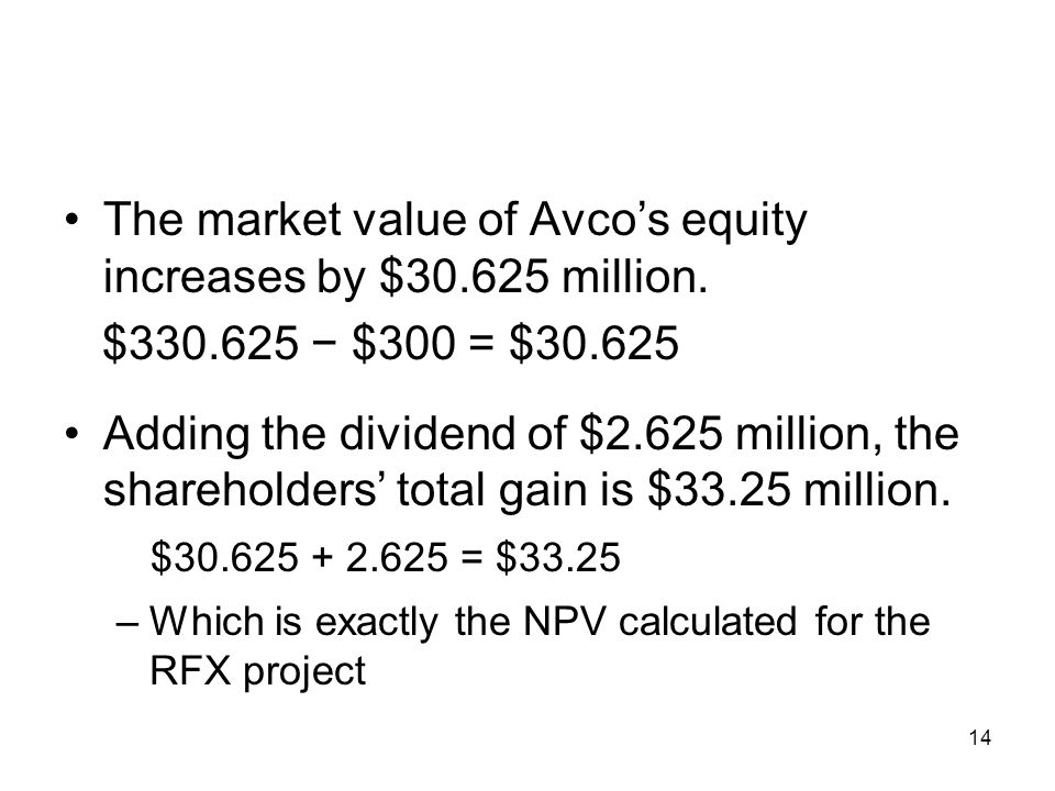 The market value of Avco's equity increases by $ million.