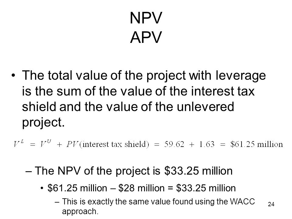 NPV APV The total value of the project with leverage is the sum of the value of the interest tax shield and the value of the unlevered project.