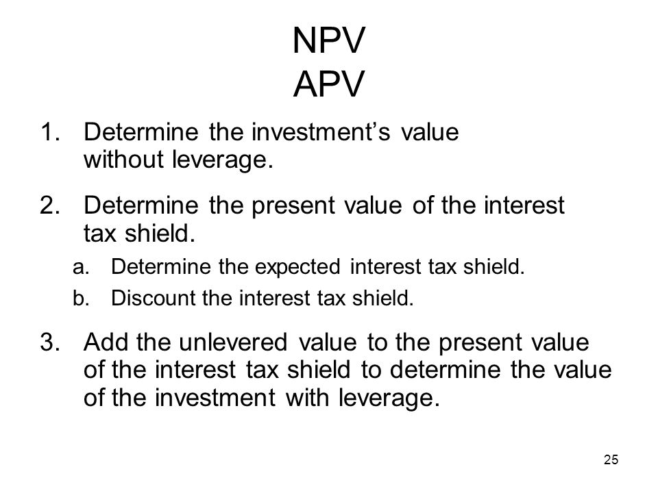 NPV APV Determine the investment's value without leverage.