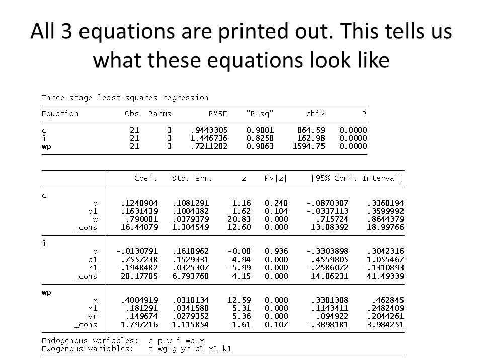 All 3 equations are printed out