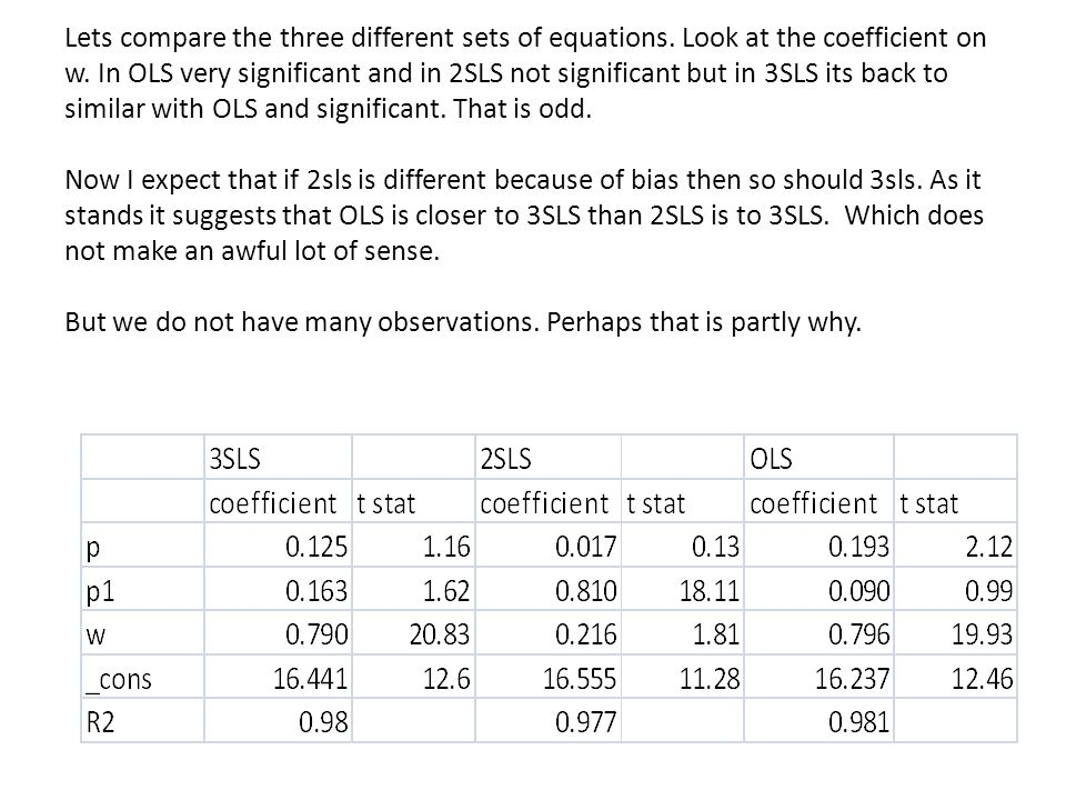 Lets compare the three different sets of equations