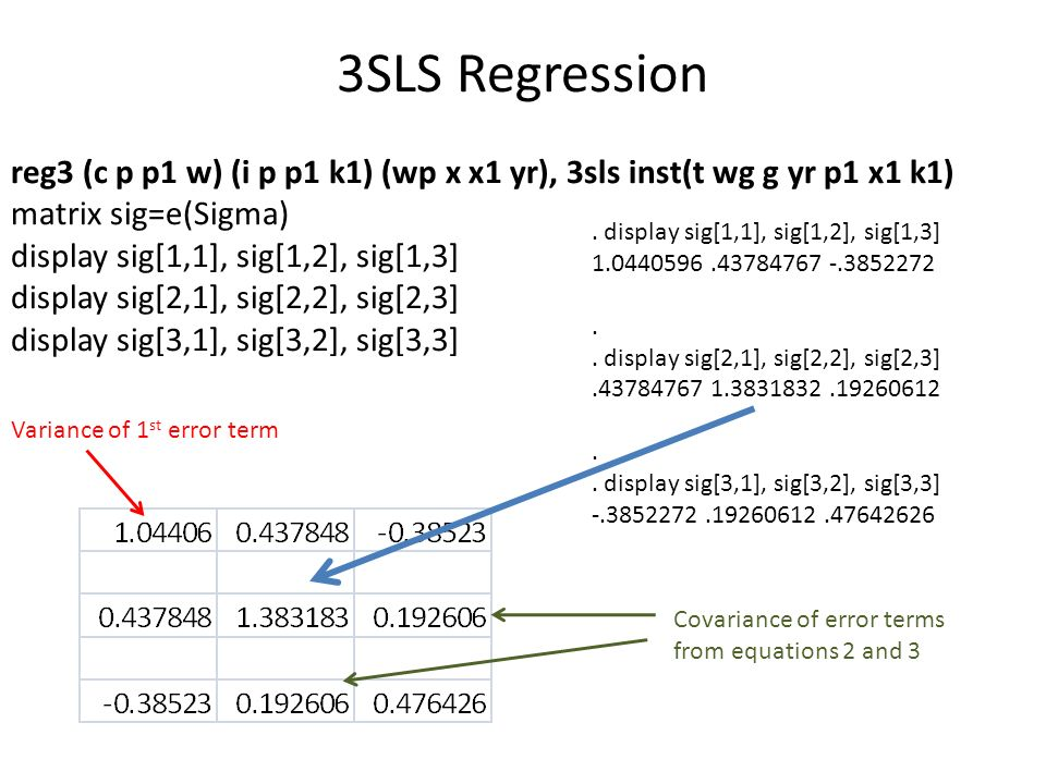 3SLS Regression reg3 (c p p1 w) (i p p1 k1) (wp x x1 yr), 3sls inst(t wg g yr p1 x1 k1) matrix sig=e(Sigma)
