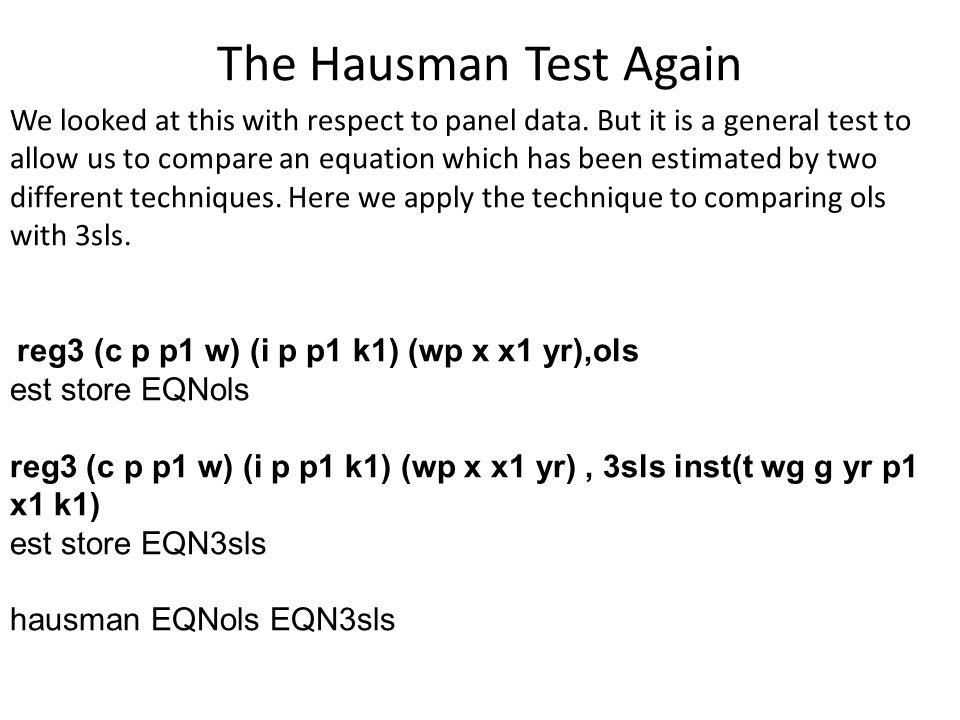 The Hausman Test Again