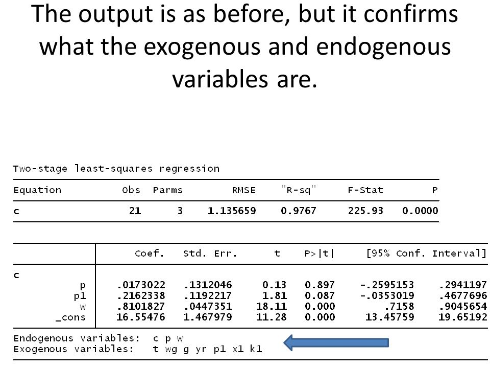 The output is as before, but it confirms what the exogenous and endogenous variables are.