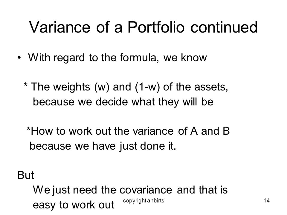 Variance of a Portfolio continued