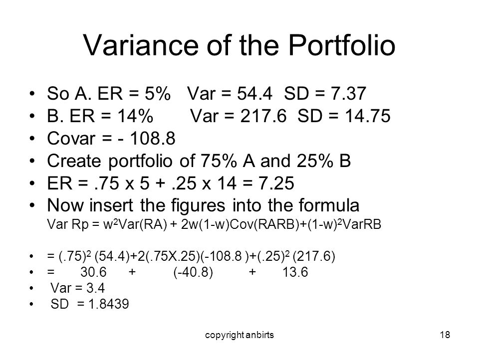 Variance of the Portfolio