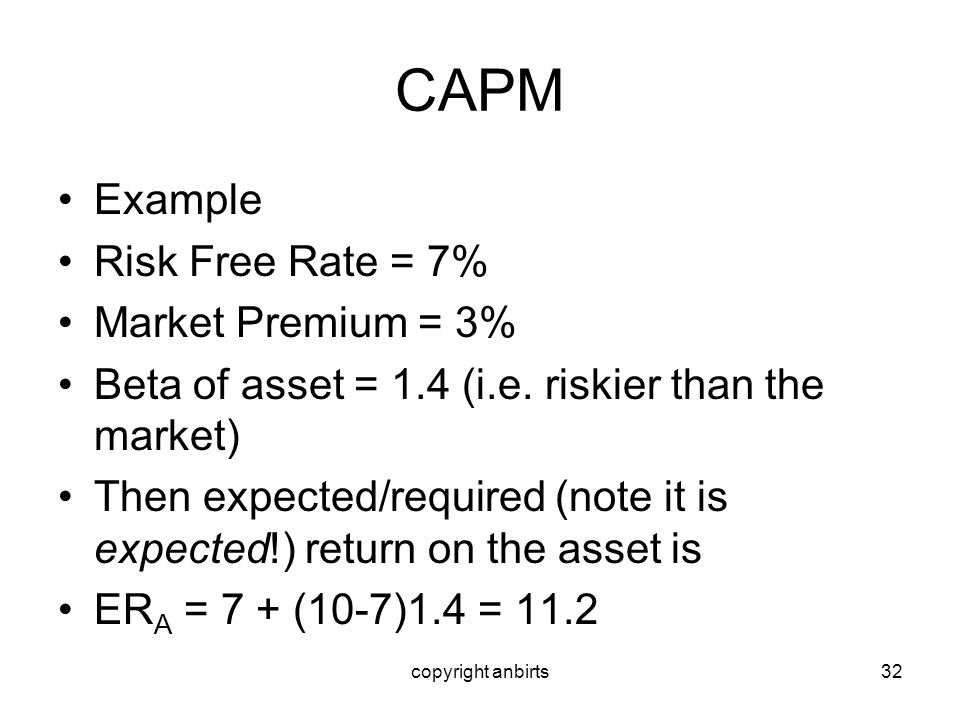 CAPM Example Risk Free Rate = 7% Market Premium = 3%