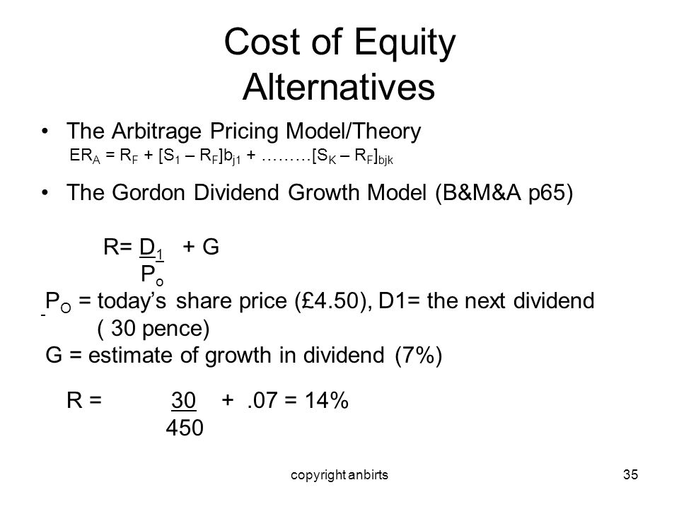 Cost of Equity Alternatives