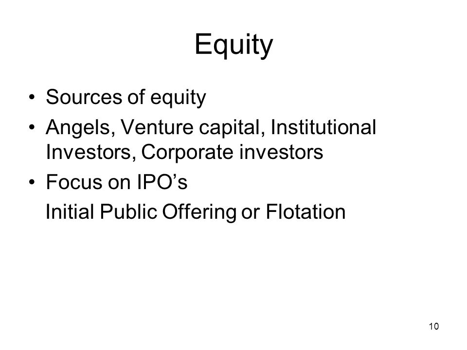 Equity Sources of equity