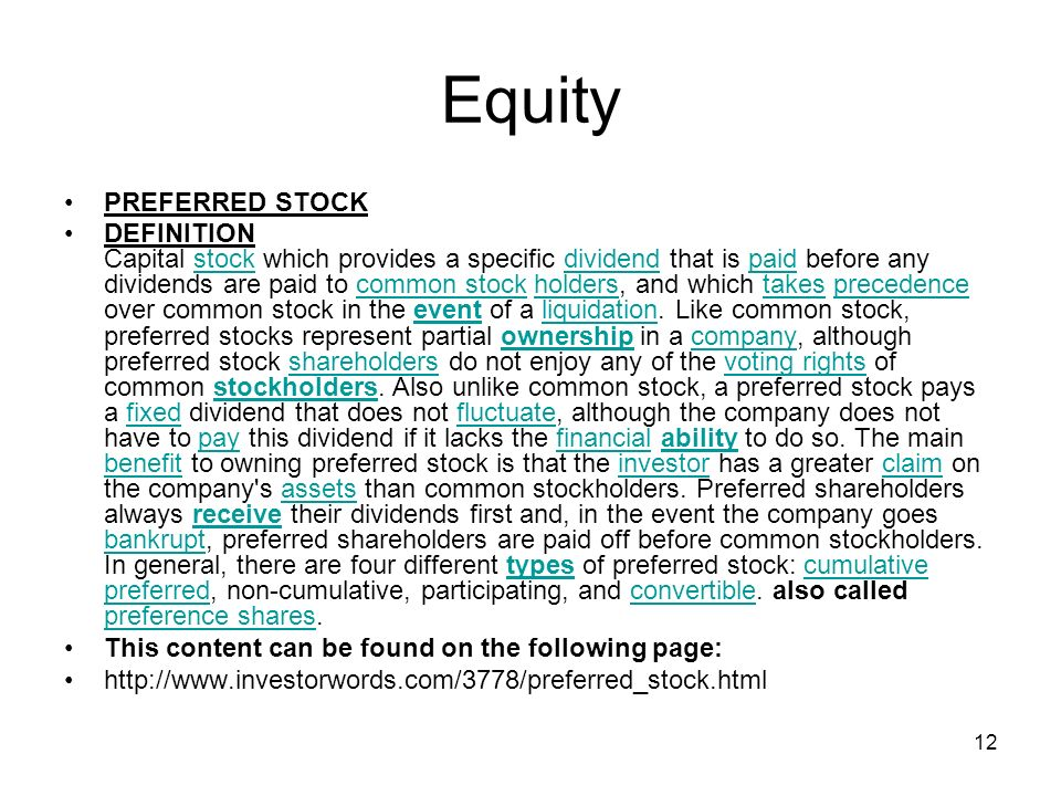 Equity PREFERRED STOCK