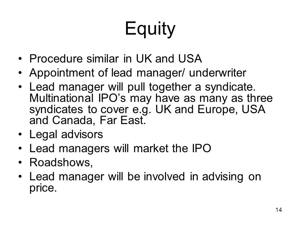 Equity Procedure similar in UK and USA