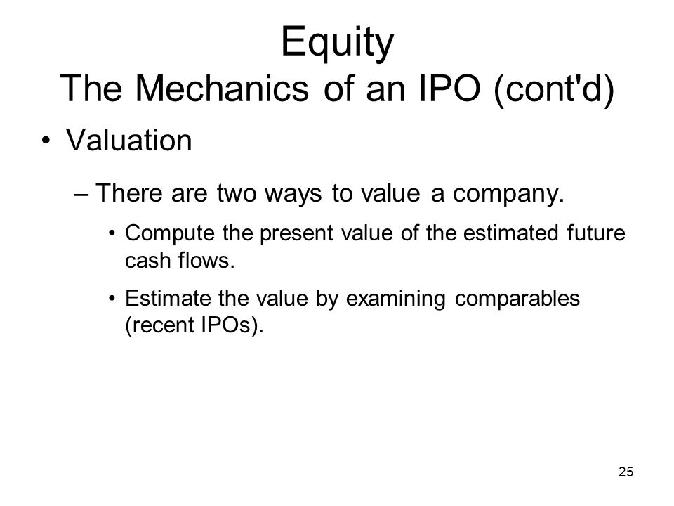 Equity The Mechanics of an IPO (cont d)