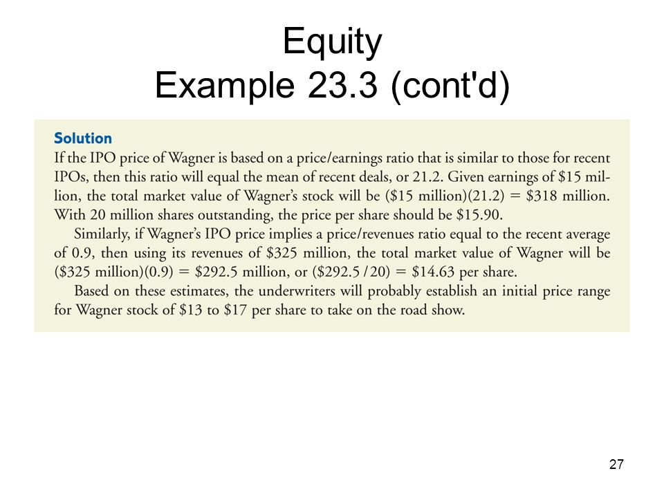 Equity Example 23.3 (cont d)