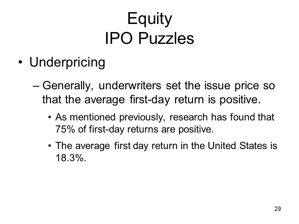 Equity IPO Puzzles Underpricing