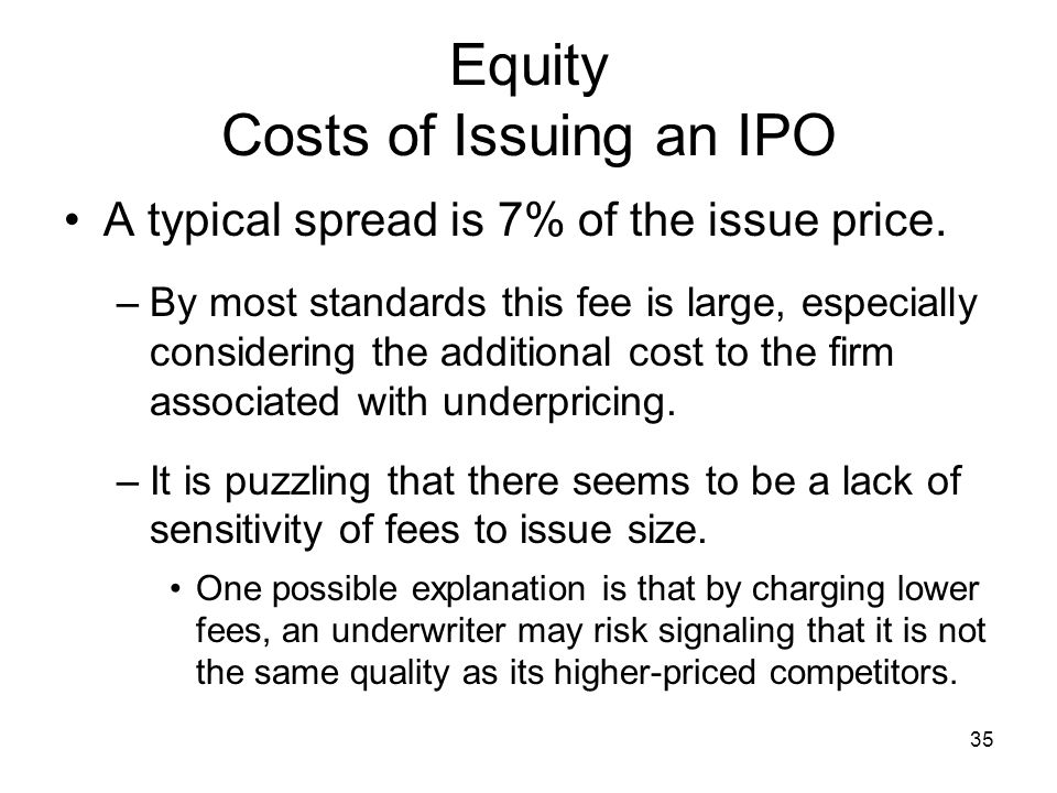 Equity Costs of Issuing an IPO