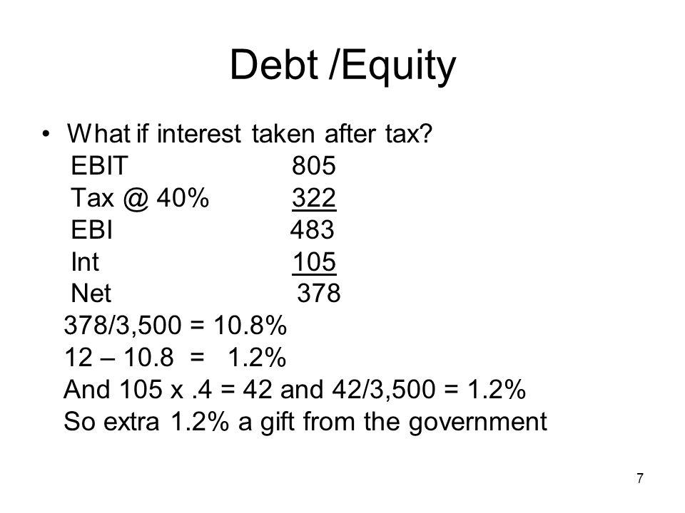 Debt /Equity What if interest taken after tax EBIT 805 Tax @ 40% 322
