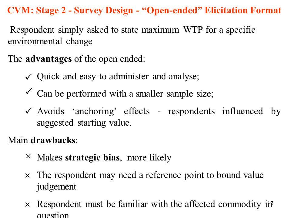 CVM: Stage 2 - Survey Design - Open-ended Elicitation Format