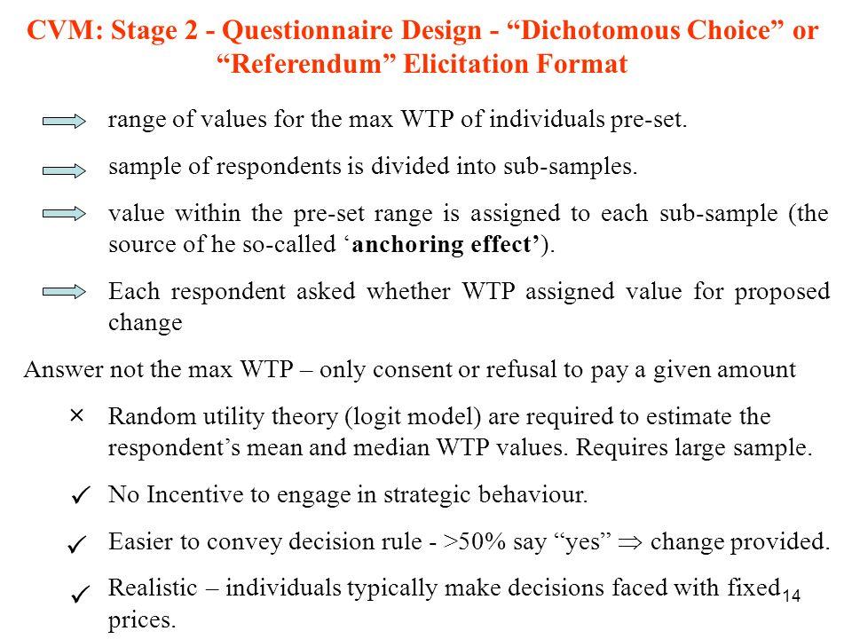 CVM: Stage 2 - Questionnaire Design - Dichotomous Choice or Referendum Elicitation Format