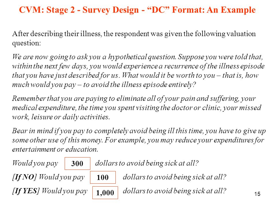 CVM: Stage 2 - Survey Design - DC Format: An Example