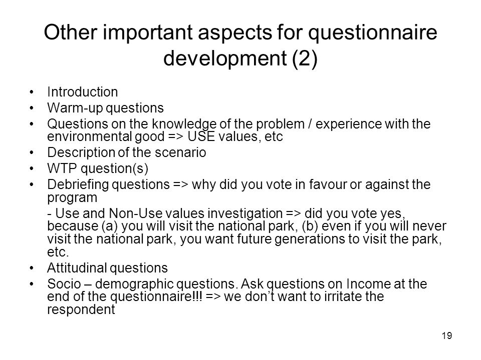 Other important aspects for questionnaire development (2)