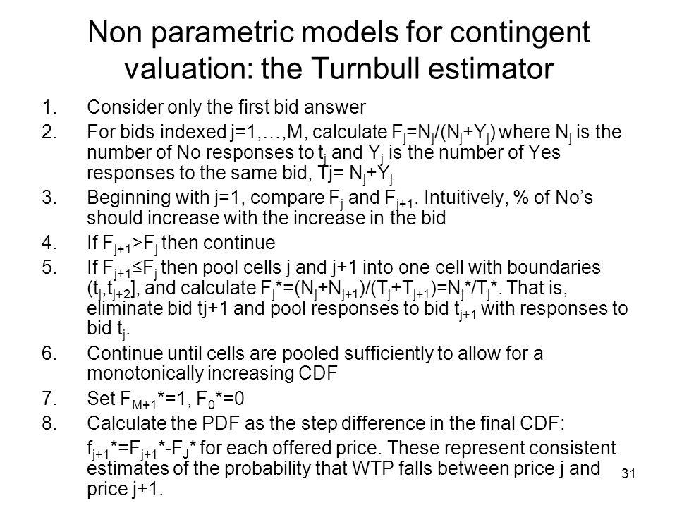 Non parametric models for contingent valuation: the Turnbull estimator