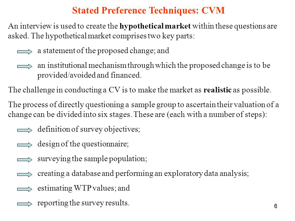 Stated Preference Techniques: CVM