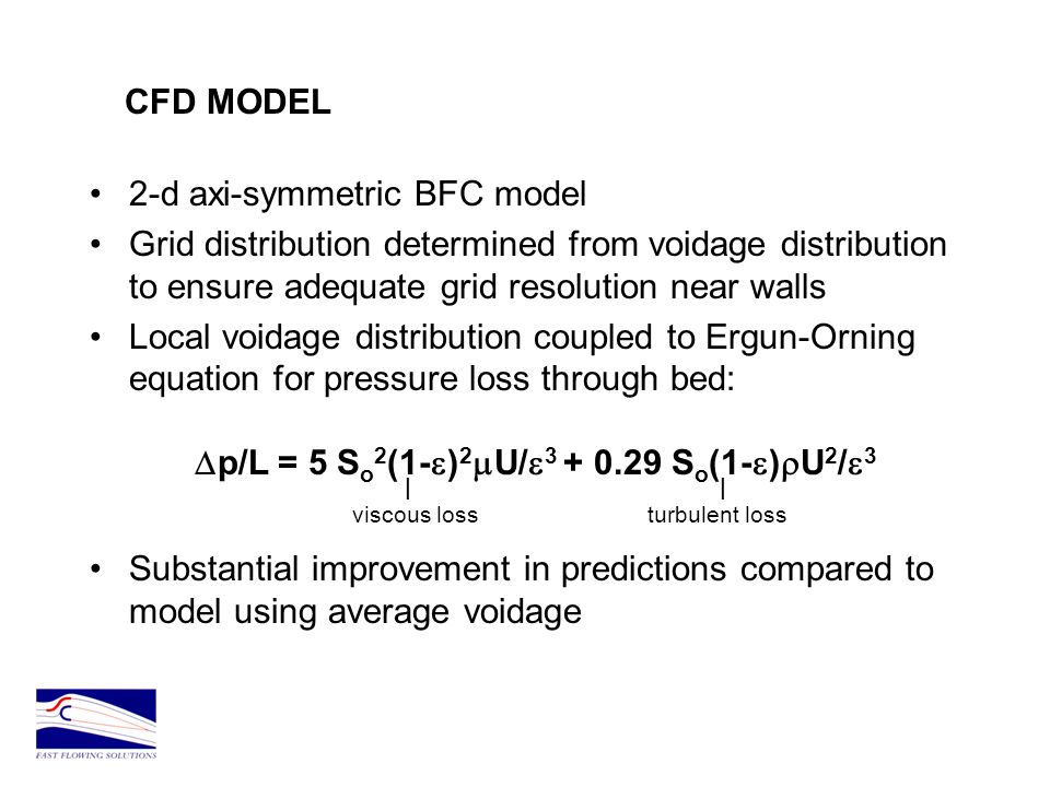 CFD MODEL 2-d axi-symmetric BFC model. Grid distribution determined from voidage distribution to ensure adequate grid resolution near walls.