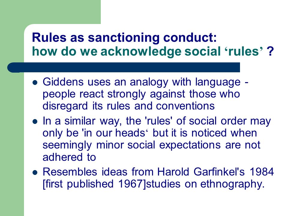 Rules as sanctioning conduct: how do we acknowledge social 'rules'